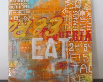 EAT Taqueria - typography, art, design, signage, vintage, americana, resin, screenprint, food