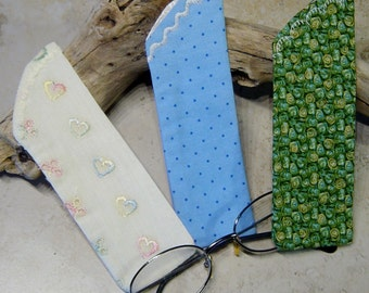 Reader Eyeglass Sleeve, Eyelass Case, Case for Readers, Choice of 3 Fabrics, Cottage Chic