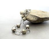 pyrite and silver bracelet, metalwork pyrite bracelet, wirewrap bracelet, oxidized bracelet