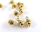 10 Acorn Charms, Antique Gold Plated Zinc Alloy, Double Sided 3D Drops 14x7mm - 10 pc - DC3037-AG10