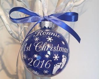 1st Christmas Bauble with baby feet