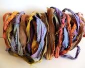 Silk Sari Ribbon, Recycled Soft Jewel Tones Sari Ribbon, 10 Yards