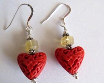 Red Cinnabar Earrings,  Cinnabar & Citrine Drop Earrings