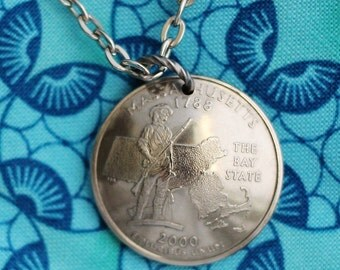 Massachusetts, Michigan, Minnesota, Mississippi, Missouri, Montana State Quarter  Necklace, Domed Coin Necklace Pendant, by Hendywood