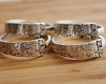 Spoon Napkin Rings Recycled Silverware International Silver Co Vintage Pattern Leaf Design Rustic Table Decor Elegant Set of Four Hendywood