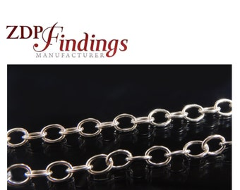 3.28 Feet (1 Meter) Sterling Silver 925 Oval Links 2.9mm Chain (7540027)