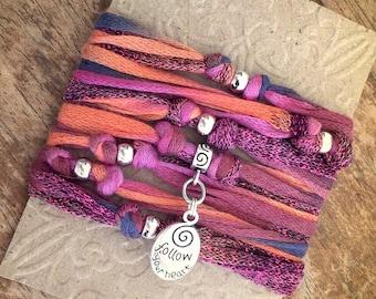Pink Orange Blue Yoga Wrap Bracelet, Yoga Jewelry, Gypsy Jewelry, Hippie Jewelry, Boho Jewelry, Beach Bracelet, Peace, Choose Your Charm