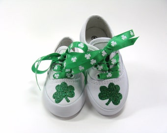 St. Patrick's Day Shoes, Shamrock Sneakers Hand Painted Irish Clovers for Baby or Toddler