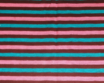 vintage 80s t-shirt knit fabric featuring pink, turquoise and burgundy stripe print,  1 yard, 3 available, priced per yard