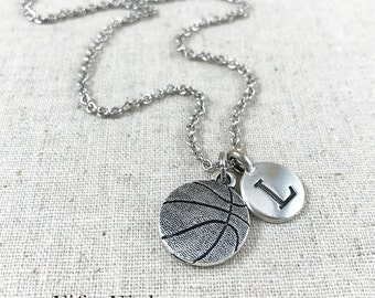 Personalized Basketball Charm Necklace, Basketball And Initial Charm Jewelry, Basketball Player Gift, Basketball Coach Gift, Personalized