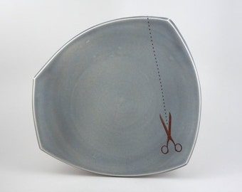 ON SALE Large squared porcelain plate with grey glaze and scissors