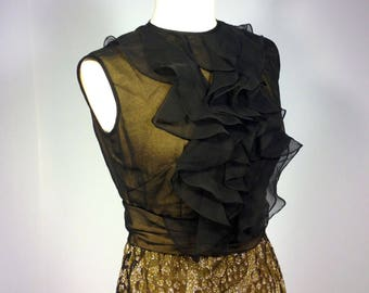 formal dress, vintage 80s gold metallic gown,  black and gold party dress, black ruffle bodice gown