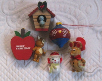 wood ornaments . lot of 5  . WoodenTree Ornament . mouse ornament . teacher ornament. birdhouse ornament