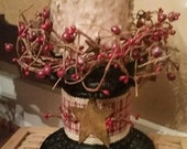 Primitive Country Pillar Candle Stand and grubby candle - Rustic Home decoration pip berries, rusty stars, homespun, candle holder