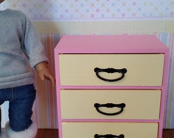 """18 inch doll dresser, drawers, clothes storage, 18"""" doll furniture for doll house"""
