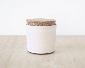 cork jar, blush.