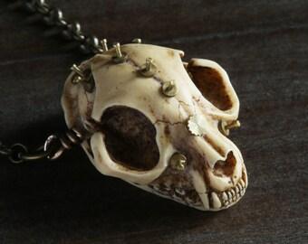 Steampunk Victorian Macabre Necklace - Cat skull replica with clock parts