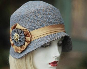 Womens 20s Vintage Style Hat, Roaring Twenties Hat, Flapper Hat, Dressy Hat, Downton Abbey Fabric Hat,