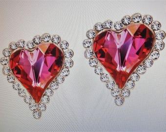 Heart shaped stud earrings, Austrian crystal stud earrings