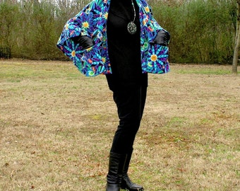 Boho Wrap, Shrug or Capelet with Pockets--Springy Blue Flower Design Anti Pill Fleece Poncho--Lightweight Warmth--One Size Fits Many