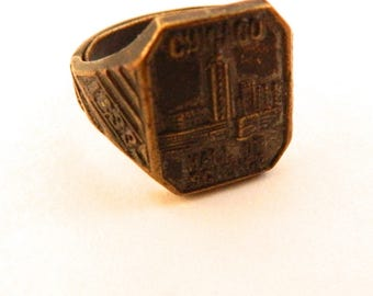 1938 Worlds Fair Chicago Hall of Science Ring Adjustable Size