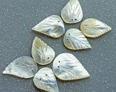 RESERVED for Patti  Mother of Pearl Leaves For Jewellery Embellishment, Button Bouquets, Vintage Supply Medium Size lot 8