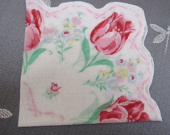 Vintage Printed Cotton TULIPS Pink & Red Handkerchief Scalloped Edge Mother's Day Birthday Gift Springtime Garden
