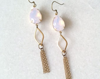 Opal Pink Earrings Tassels - Long Earrings Chains - Pale Pink Earrings - Pink and Gold - Sunset Earrings (SD1123)