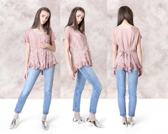 EMBROIDERED pink BLOUSE oversize loose SUMMER vintage women shirts Lace ruffles Free Size / better Stay together
