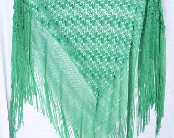 Vintage Shawl Lace Blue Green Art Deco