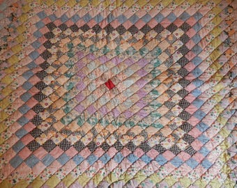 1930's Feedsack Fabric Lap Quilt / Peach with Postage Stamp Quilt Blocks