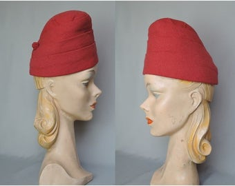 Vintage 1940s Tall Red Wool Fabric Hat, fits 21 - 22 inch head