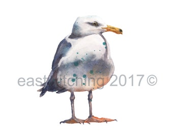 Watercolor SEAGULL PRINT - 8x10 inches - bird lover gift - beach house decor