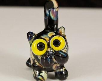 Tortoiseshell Tortie Lampwork Cat Bead