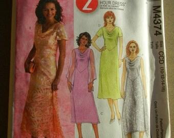 McCall's Misses Dresses Pattern # M4374 Uncut 10 thru 18