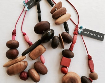 Vegan Recycled Australian Wood and Vintage Bead Necklace by Mainichi bright red pink black white on Japanese cord strand