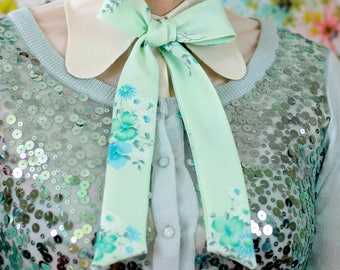 mint floral pussy bow // seafood and teal bow tie for women // xoelle lady tie