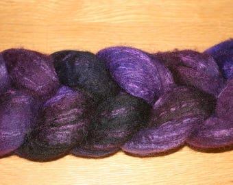 Blueface Leicester Tussah Silk Spinning Fiber - 'Grape Jelly'