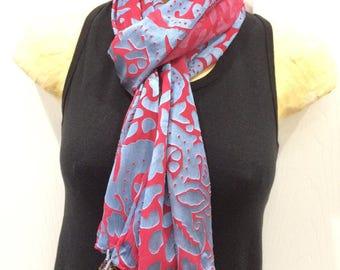 Silk Devore Dyed Scarf, Blue Over Red, Embellished