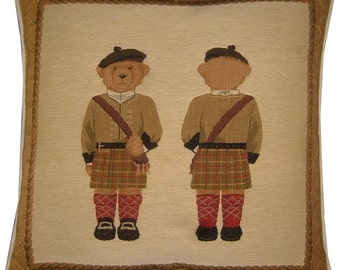 Scottish Troops Teddy Bear Woven Tapestry Cushion Cover Sham