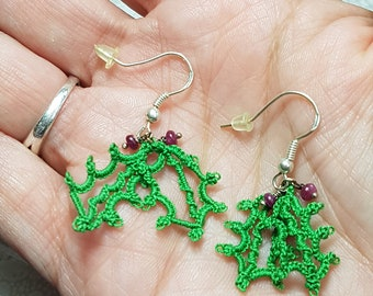 Holiday Holly and Berries / Unique Needle Tatted Lace Earrings with Rubies / Beautiful gift for her for the holidays CLEARANCE SALE