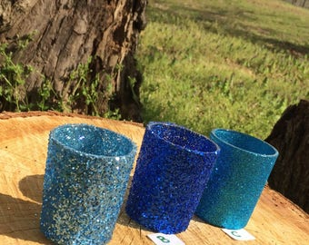 12 Glitter Votive Candle Holders Wedding Party Favors Light Blue Sapphire Aqua Teal Turquoise Table Decoration Centerpiece  Tealight