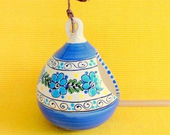 Blue Ceramic Bird Feeder