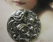 Sterling Silver Ox Plated Art Nouveau Women and Flower Stamping 749SOX x1