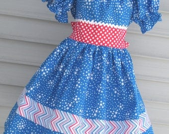 Ready to Ship Custom Boutique Red White Blue Patriotic American Girl Dress 4th of July Will Fit Size 5 or 6