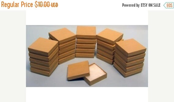 Spring Sale 10% off 20 Pack Kraft 3.5 X 3.5 X 1 Inch  Size Cotton Filled Jewelry Presentation Gift Boxes