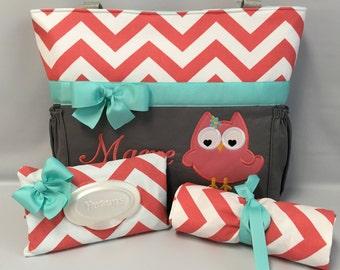 Owl Chevron  ...  Diaper Bag SET  .. Changing Pad  ...  WIPE Cover Set ... CORAL  Chevron