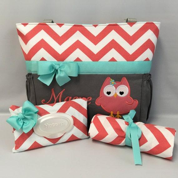 owl chevron diaper bag set changing pad wipe. Black Bedroom Furniture Sets. Home Design Ideas