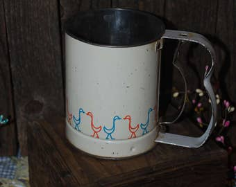 Vintage Kitchen Sifter White with Ducks