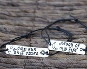 Set of 2, Couples Bracelet, Moon of My Life, My Sun and Stars, Game of Thrones Quotes, Personalized, Engraved, Aluminum, Hand Stamped, Gift